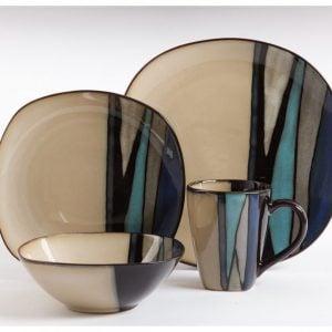 Gibson Althea Teal 16-Piece Dinnerware Set