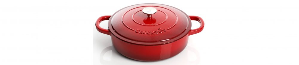 Crock Pot Artisan 5 Quart Red Enameled Round Cast Iron Braiser