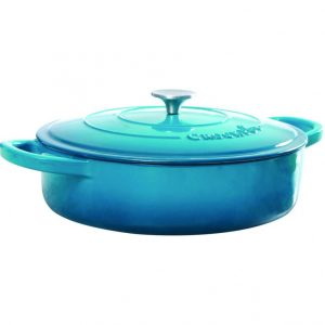 Crock pot Artisan 5 Quart Teal Enameled Round Cast Iron Braiser