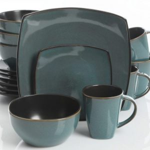 Gibson Soho Lounge Teal Green 16-Piece Dinnerware Set