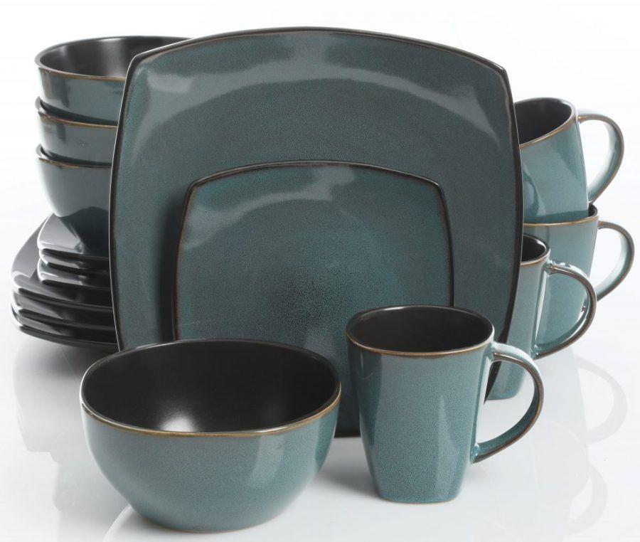 Teal Green Reactive Glazed Stoneware Dinnerware Set & Gibson Soho Lounge Teal Green 16-Piece Dinnerware Set | Plum Street ...