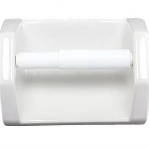 Lenape White Ceramic Toilet Paper Holder