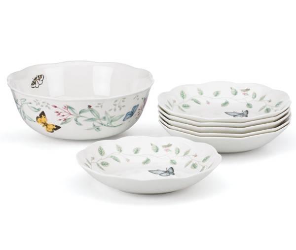 Porcelain Pasta Bowl u2013 7 Piece Set  sc 1 st  Plum Street Pottery & Lenox Dinnerware Butterfly Meadow Pasta Bowl Set | Plum Street Pottery