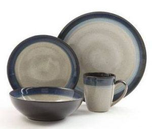 Gibson Elite Couture Bands Blue Dinnerware Set