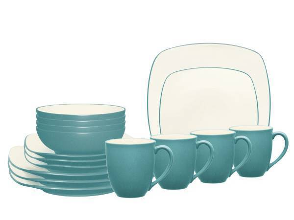 Noritake® Colorwave Turquoise Square 16-Piece Dinnerware Set  sc 1 st  Plum Street Pottery : turquoise dinnerware set - pezcame.com