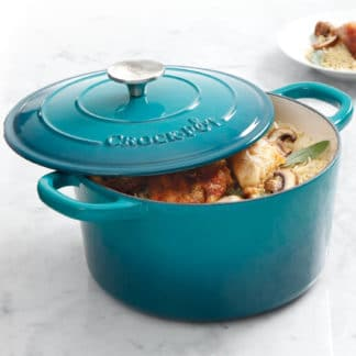 Crock Pot Artisan 5QT Enamel Cast Iron Dutch Oven, Gradient Teal