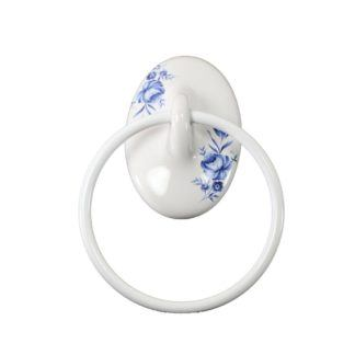 Lenape Classic Decorative Blue Flower Ceramic Towel Ring