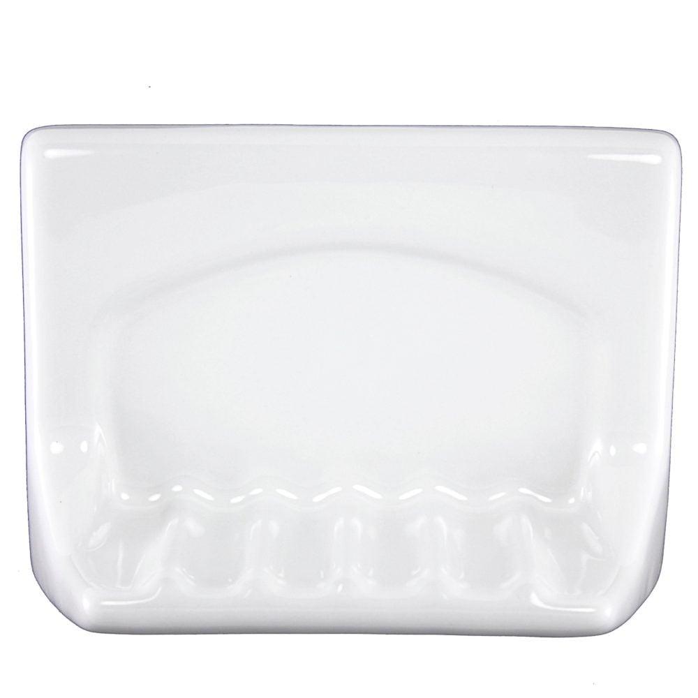 Wall Mount White Ceramic Tub Soap Dish 4 In X 6 In