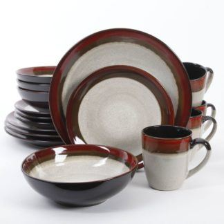 Gibson Coutoure Bands Red 16-Piece Dinnerware Set