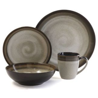 Gibson Couture Brown 16-Piece Dinnerware Sety