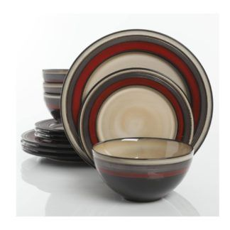 Gibson Everston Red 12-Piece Dinnerware Set