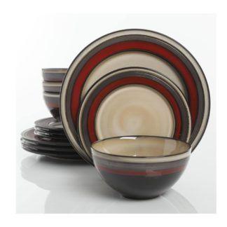 Gibson Everston Red 12-Piece Dinnerware Set