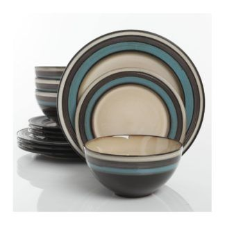 Gibson Everston Teal 12-Piece Dinnerware Set
