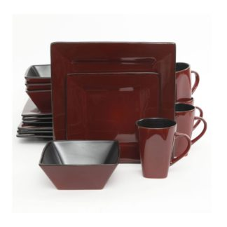 Gibson Kiesling Red 16-Piece Dinnerware Set