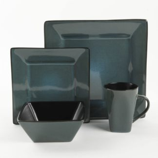 Gibson Kiesling Teal 16-Piece Dinnerware Set