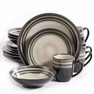 Gibson Lewisville Neutral 16-Piece Dinnerware Set