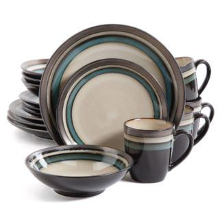 Gibson Lewisville Teal 16-Piece Dinnerware Set