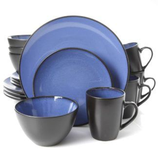 Gibson Soho Lounge Round Blue 16-Piece Dinnerware Set