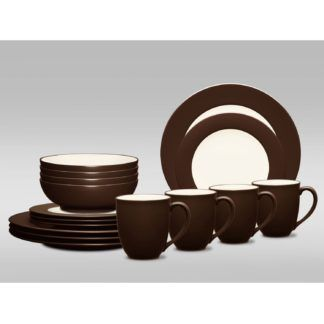 Noritake Colorwave Chocolate Rim 16-Piece Dinnerware Set
