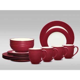 Noritake Colorwave Raspberry Rim 16-Piece Dinnerware Set
