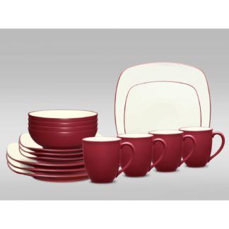 Noritake Colorwave Raspberry Square 16-Piece Dinnerware Set