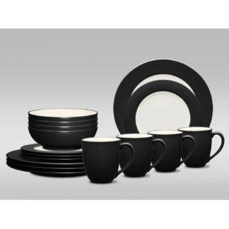 Noritake Colorwave Graphite Rim 16-Piece Dinnerware Set
