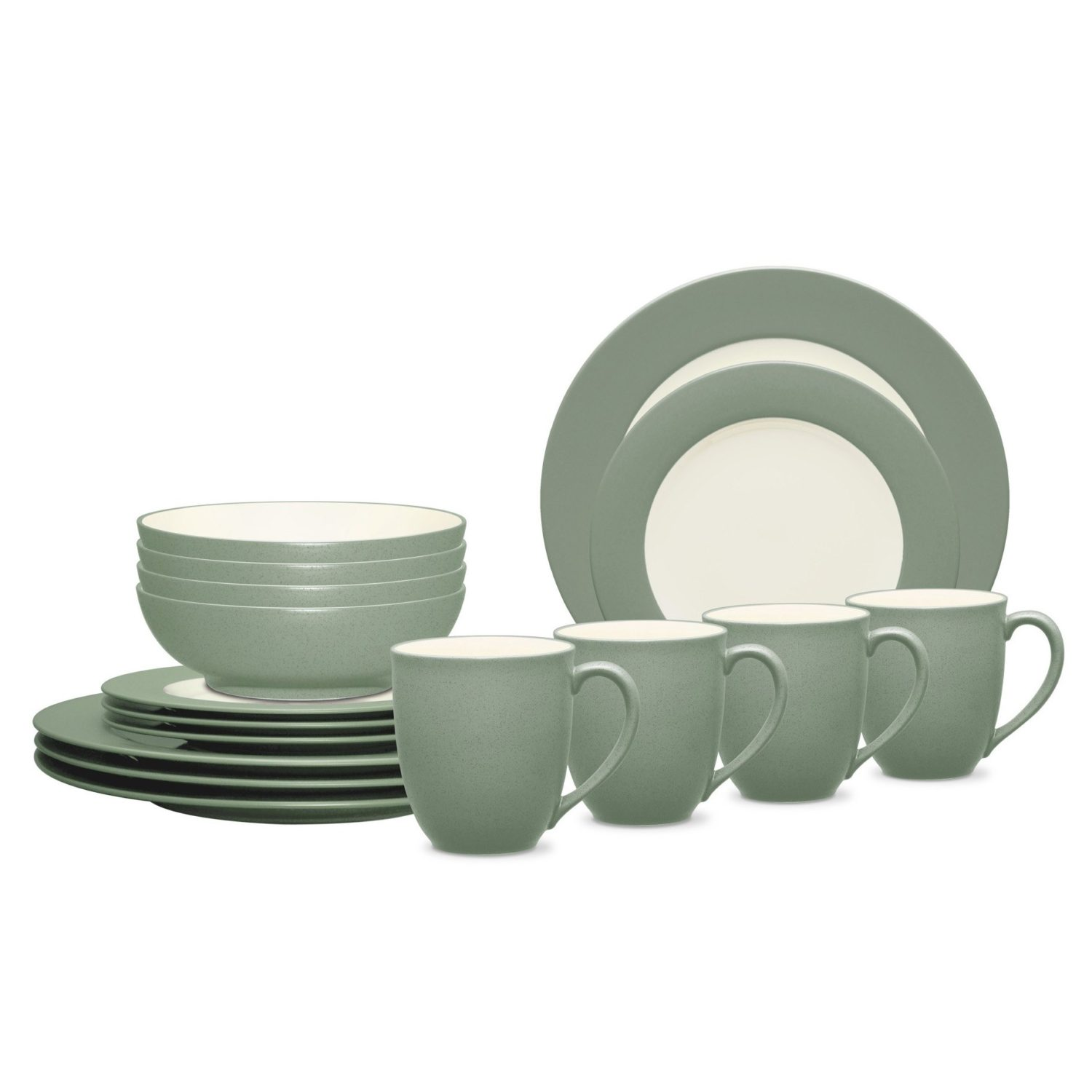 Noritake Colorwave Green Rim 16-Piece Dinnerware Set