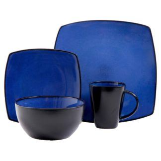 Gibson Soho Lounge Square 16-Piece Dinnerware Set, Blue