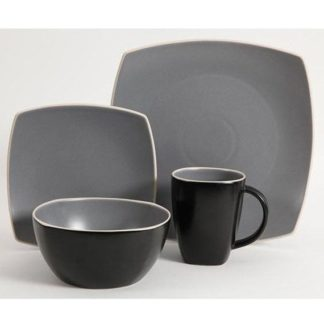 Gibson Soho Lounge Matte Gray 16-Piece Dinnerware Set