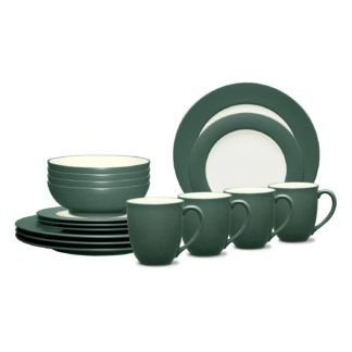Noritake Colorwave Spruce Rim 16-Piece Dinnerware Set