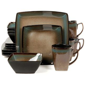 Gibson Tequesta Taupe 16-Piece Dinnerware Set