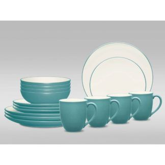 Noritake Colorwave Turquoise Coupe 16-Piece Dinnerware Set