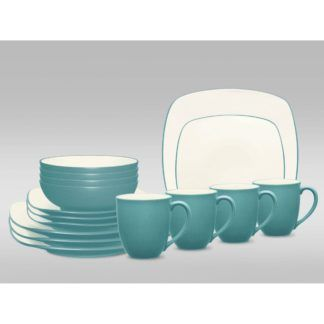 Noritake Colorwave Turquoise Square 16-Piece Dinnerware Set