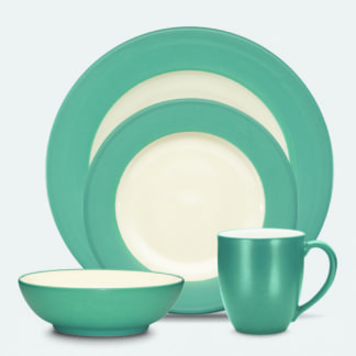 Noritake Coloriage Turquoise Rim 4-Piece Place Setting