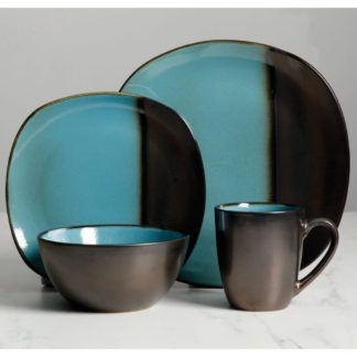 Gibson Voterra Teal 16-Piece Dinnerware Set
