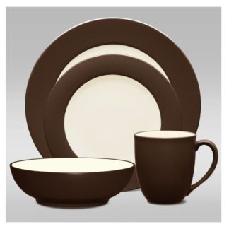 Noritake Colorwave Chocolate Rim 4-Piece Place Setting