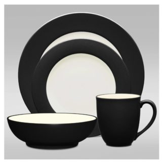 Noritake Colorwave Graphite Rim 4-Piece Place Setting