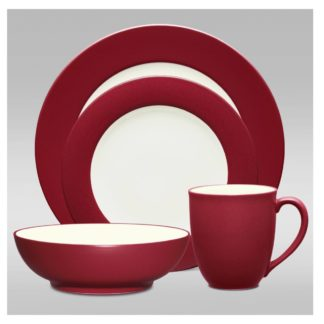 Noritake Colorwave Raspberry Rim 4-Piece Place Setting