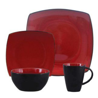 Gibson Elite Soho Lounge Red Dinnerware Set