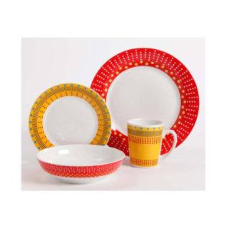 Gibson Lockhart Red Yellow 16-Piece Dinnerware Set