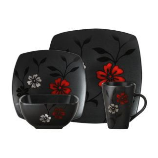 Gibson Elite Evening Blossom 16-Piece Dinnerware Set