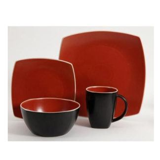Gibson Matte Brick Red 16-Piece Dinnerware Set