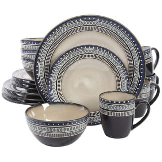 Gibson Elite Magello 16-Piece Dinnerware Set, Cream/Brown/Blue