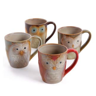 Gibson Home Owl City Set of 4 17 Ounce Mugs, Multicolor