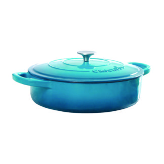 Crock-Pot® Artisan 5 Qt Enameled Round Cast Iron Braiser, Teal