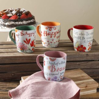 Gibson Home Papillon Mugs - Assorted Set of Four
