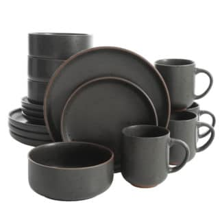 Gibson Elite Black Sand 16 Piece Terracotta Dinnerware Set