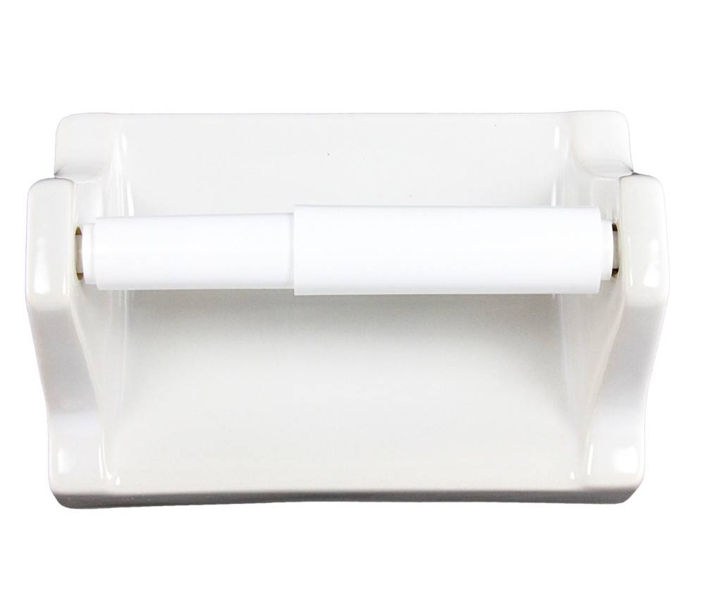 White Ceramic Toilet Paper Holder Plum Street Pottery