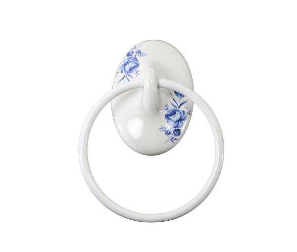 White Towel Ring Blue Flower Plum Street Pottery