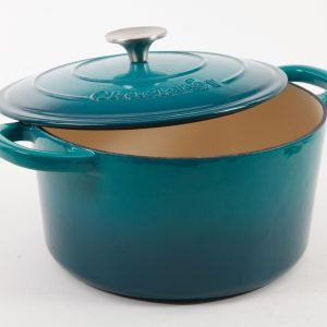 Crock Pot 7 Quart Teal Round Enameled Cast iron Dutch Oven